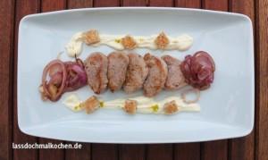 Schweinefilet, Orangenschmand, Brotcroutons III