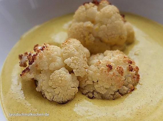 Malte Evers Rezept: Gebackener Blumenkohl mit Currydip 1