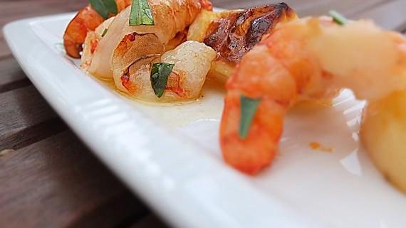 Malte Evers Rezept: Garnelen mit Weißweinkartoffeln und Estragon